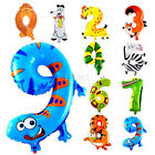 1PC Funny Animal Number Foil Balloon 0-9 Wedding Happy Birthday Party Decoration