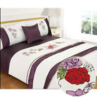5Pc Bed In Bag Complete Bedding Set In Lovely Faux Satin Aubergine Purple Cream