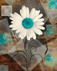 Rustic Distressed Daisy Flower Home Decor Bathroom Bedroom Teal Wall Art Picture