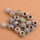 5/10Pcs Antique Tibetan Silver Crystal Charm Spacer Beads Jewelry Findings
