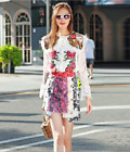 18 Occident new fashion embroidery lace tops+jacquard Printed skirt makings suit