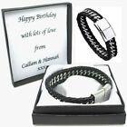 Mens Leather Bracelet Engraved Clasp Personalised Box Gifts For Dad Son Grandad