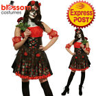 CA461 Red Rose Day of the Dead Senorita Gothic Halloween Dress Up Zombie Costume