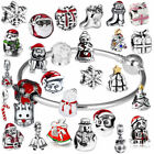 925 Sterling Silver Christmas Charm Pendants Spacer Bead for Bracelets Necklace