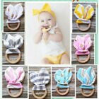 Gracious Baby Infant Rabbit Ear Healthy Safety Fabric Wooden Teething Rings Toy