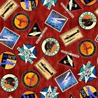Aviator Logos Plane Travel Airline Patches Brick Red Cotton Fabric by the Yard