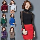 Womens Casual High Neck Long Sleeve Tops T-Shirt Mesh Blouse Tee Shirt Stylish