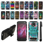 For Motorola Moto Z2 Force 2nd Gen 2017 Design Hybrid Stand Case Cover + Pen