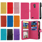 For ZTE Max XL N9560 Flip Card Holder Wallet Cover Case Wrist Strap + Pen