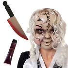 CRACKED DOLL MASK WITH KNIFE HALLOWEEN CREEPY ACCESSORY BROKEN CHINA FANCY DRESS