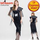K432 Black Widow Costume Halloween Scary Spider Web Fancy Dress Up Outfit Witch