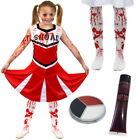 GIRLS HALLOWEEN  ZOMBIE CHEERLEADER FANCY DRESS COSTUME KIDS CHILDRENS DEATH