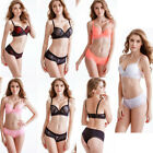 Womens Sexy Lace Floral Push up Gather 3 Buckle Bra + Briefs Knickers Set Suit