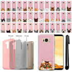 For Samsung Galaxy S8+ Plus G955 Cat Design Sparkling Pink TPU Case Cover + Pen