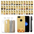 "For Apple iPhone 7/8 4.7"" Dog Design Slim Sparkling Gold TPU Case Cover + Pen"