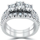 1 1/2 ct 3-Stone Diamond Engagement Ring Matching Wedding Band Set White Gold