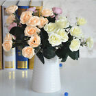 12 HEADS FAKE ROSE ARTIFICIAL SILK FLOWER BOUQUET HOME WEDDING DECOR 5 COLORS