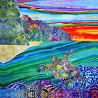 NEW Na Pali Coast Beach Mountains Sea Turtle Colorful Sunset~Fabric Quilt Square