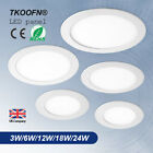 1-10x LED Recessed Ceiling Panel Down Lights Home Light Round 3W 6W 12W 18W 24W