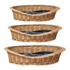 Oval Wicker Dog Pet Bed Basket Sofa Puppy Cat Natural Wood Handmade Grey Rattan