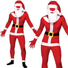 SANTA SKIN SUIT WITH HAT + BEARD CHRISTMAS FESTIVE JUMPSUIT FANCY DRESS COSTUME