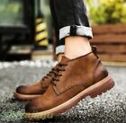 Men's Vintage British High Top Chukka Winter Lace Up Casual Cowboy Ankle Boots