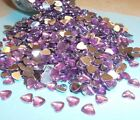 50 Purple Acrylic Hearts Embellishments Wedding Invites Cards Favours Craft