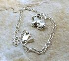 Sterling Silver Rabbit Charm on  Sterling Silver 3mm Rolo Bracelet - 0476