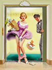 Pin Up Girl Elevator Cotton Quilt Block Multi Szs FrEE ShiPPinG WoRld WiDE (R3