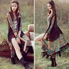 Women Coat Long Ethnic style Boho See-through Blouse Kimono Chiffon Embroidery A