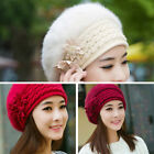 Women's Winter Warm Knitted Crochet Wool Hat Soft Fur Wool Beret Cap Beanie Gift