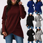 UK Womens Long Sleeve Hooded Asymmetric Hem Wrap Hoodie Sweatshirt Outwear TY