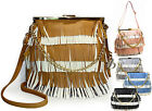 Amy & Joey® Multi Layer Fringe, Lead-Free French Lock Large Crossbody