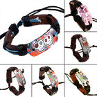 Adjustable Punk Leather Wrap Braided Strap Cord Bangle Bracelet Tribal Men Women