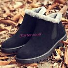 New Winter Men's High Top Warm Fur Lined Snow Boots Casual Outdoor Slip On Shoes