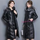 Thicken Women's Faux Leather Warm Long Coats Parka Hooded Jackets Winter Outwear