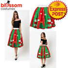 K473 Christmas Skirt High Waist Skater Retro Flared Xmas Rockabilly Vintage 50s