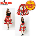 K473B Christmas Skirt High Waist Skater Retro Flared Xmas Rockabilly Vintage 50s