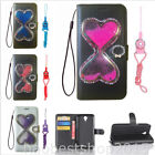 Bling Glitter Quicksand Hourglass Dynamic PU leather wallet Cover Case & strap G