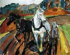 Horse Team by Edvard Munch. Giclee Fine Art Reproduction Prints on Canvas