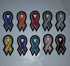 "Black Biker Sew-On Embroidered Patch CANCER/AWARENESS RIBBON -3.25 x 1.5"" U PICK"