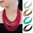 Fashion Chain 20 Layers Handmade Resin Beads Choker Bib Pendant Necklace Jewelry