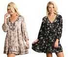 UMGEE Womens Long Sleeves Floral Comfy Chic Embroidery Flowy Trendy Dress S M L