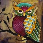 Owl On Tree Branch Brittany Morgan Colorful Art Picture Canvas Print Giclee Bird