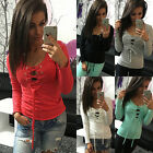 Women Ladies Lace Up V-Neck T-Shirt Blouse Casual Long Sleeve Tops Shirt S-XL