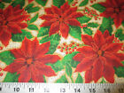 Discount Fabric Quilting Cotton Christmas Red Poinsettia Floral 14T