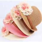 Fashion Summer Flower Design Straw Beach Cap Sun Hat For Baby Girl Kids Children