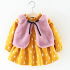 NEW Toddler Baby Girls Cartoon Warm Princess Dress+Waistcoat Outfits Clothes Set