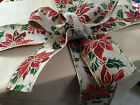 FESTIVE POINSETTIA Burlap / Jute style Christmas 63mm - Luxury Wire Edged Ribbon
