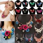 Women's Choker Collar CrystalJewelry Statement Chunky Flower Necklace Pendant